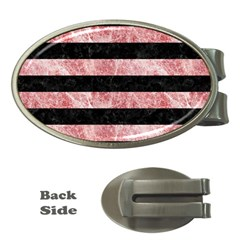Stripes2 Black Marble & Red & White Marble Money Clip (oval) by trendistuff