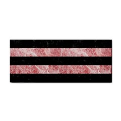 Stripes2 Black Marble & Red & White Marble Hand Towel by trendistuff