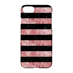 Stripes2 Black Marble & Red & White Marble Apple Iphone 7 Hardshell Case