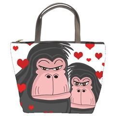 Gorillas Love Bucket Bags by Valentinaart
