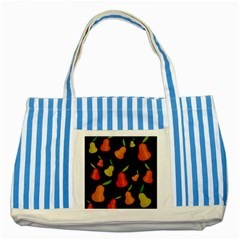 Pears Pattern Striped Blue Tote Bag by Valentinaart
