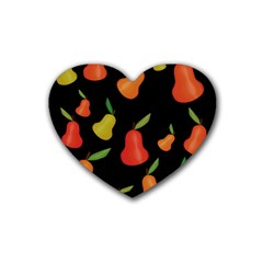 Pears Pattern Rubber Coaster (heart)  by Valentinaart