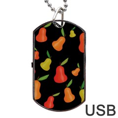 Pears Pattern Dog Tag Usb Flash (one Side) by Valentinaart