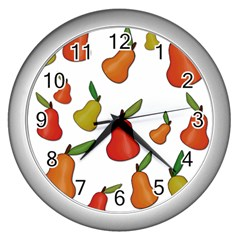 Decorative Pears Pattern Wall Clocks (silver)  by Valentinaart