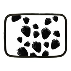 Black Strowberries Netbook Case (medium)  by Valentinaart