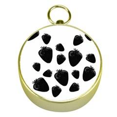 Black Strowberries Gold Compasses by Valentinaart