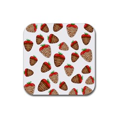 Chocolate Strawberries  Rubber Square Coaster (4 Pack)  by Valentinaart
