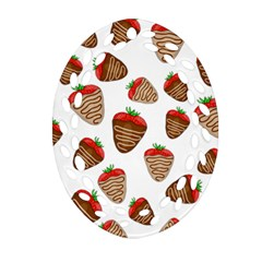 Chocolate Strawberries  Oval Filigree Ornament (2 Side)  by Valentinaart