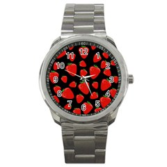 Strawberries Pattern Sport Metal Watch by Valentinaart
