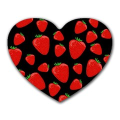 Strawberries Pattern Heart Mousepads by Valentinaart