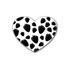 Black Strawberries Pattern Heart Coaster (4 Pack)  by Valentinaart