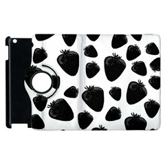 Black Strawberries Pattern Apple Ipad 3/4 Flip 360 Case by Valentinaart