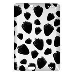Black Strawberries Pattern Amazon Kindle Fire Hd (2013) Hardshell Case by Valentinaart