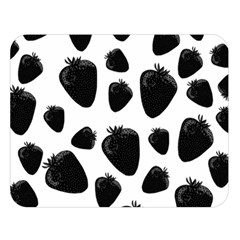 Black Strawberries Pattern Double Sided Flano Blanket (large)  by Valentinaart