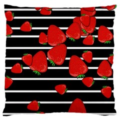 Strawberries  Large Cushion Case (two Sides) by Valentinaart