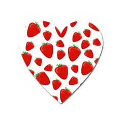 Decorative Strawberries Pattern Heart Magnet by Valentinaart