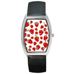 Decorative Strawberries Pattern Barrel Style Metal Watch by Valentinaart