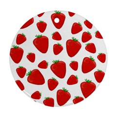 Decorative Strawberries Pattern Round Ornament (two Sides)  by Valentinaart