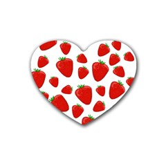 Decorative Strawberries Pattern Rubber Coaster (heart)  by Valentinaart