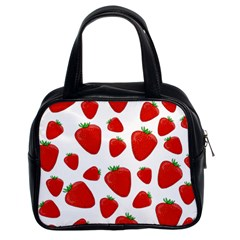 Decorative Strawberries Pattern Classic Handbags (2 Sides) by Valentinaart