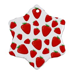 Decorative Strawberries Pattern Snowflake Ornament (2 Side) by Valentinaart