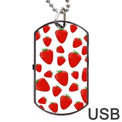Decorative Strawberries Pattern Dog Tag Usb Flash (two Sides)  by Valentinaart
