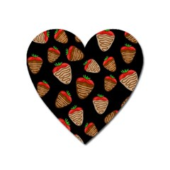 Chocolate Strawberries Pattern Heart Magnet by Valentinaart