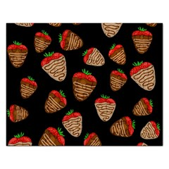 Chocolate Strawberries Pattern Rectangular Jigsaw Puzzl by Valentinaart