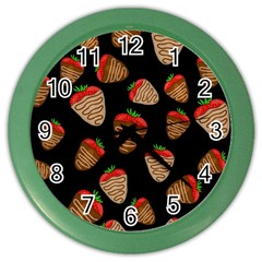 Chocolate Strawberries Pattern Color Wall Clocks by Valentinaart