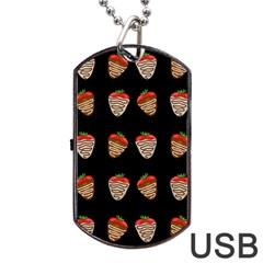 Chocolate Strawberies Dog Tag Usb Flash (one Side) by Valentinaart
