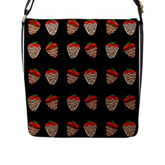 Chocolate Strawberies Flap Messenger Bag (l)  by Valentinaart