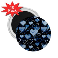 Blue Harts Pattern 2 25  Magnets (10 Pack)  by Valentinaart