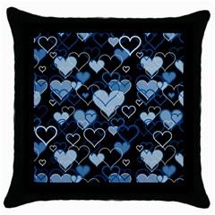 Blue Harts Pattern Throw Pillow Case (black) by Valentinaart