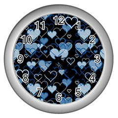 Blue Harts Pattern Wall Clocks (silver)  by Valentinaart