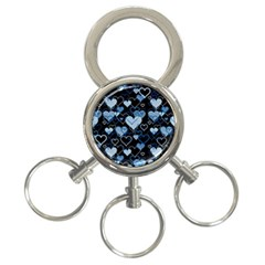 Blue Harts Pattern 3 Ring Key Chains by Valentinaart