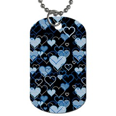 Blue Harts Pattern Dog Tag (one Side) by Valentinaart