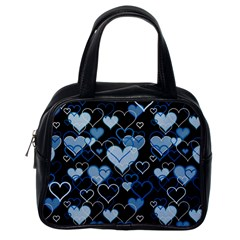 Blue Harts Pattern Classic Handbags (one Side) by Valentinaart