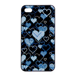 Blue Harts Pattern Apple Iphone 4/4s Seamless Case (black) by Valentinaart