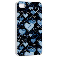 Blue Harts Pattern Apple Iphone 4/4s Seamless Case (white) by Valentinaart