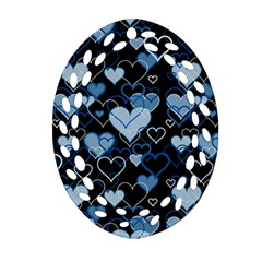 Blue Harts Pattern Oval Filigree Ornament (2 Side)  by Valentinaart