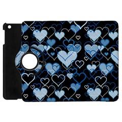 Blue Harts Pattern Apple Ipad Mini Flip 360 Case by Valentinaart
