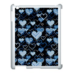 Blue Harts Pattern Apple Ipad 3/4 Case (white) by Valentinaart