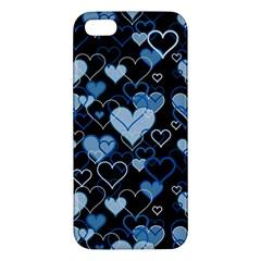 Blue Harts Pattern Apple Iphone 5 Premium Hardshell Case by Valentinaart