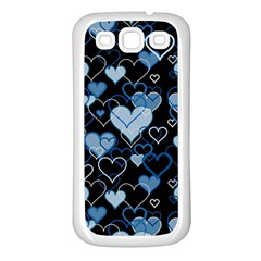 Blue Harts Pattern Samsung Galaxy S3 Back Case (white) by Valentinaart