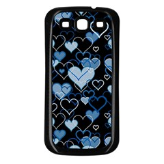 Blue Harts Pattern Samsung Galaxy S3 Back Case (black) by Valentinaart