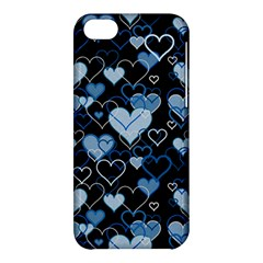 Blue Harts Pattern Apple Iphone 5c Hardshell Case by Valentinaart