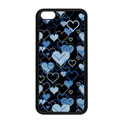 Blue Harts Pattern Apple Iphone 5c Seamless Case (black) by Valentinaart