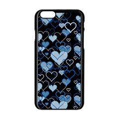 Blue Harts Pattern Apple Iphone 6/6s Black Enamel Case by Valentinaart