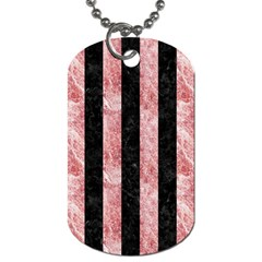 Stripes1 Black Marble & Red & White Marble Dog Tag (two Sides) by trendistuff