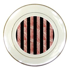 Stripes1 Black Marble & Red & White Marble Porcelain Plate by trendistuff